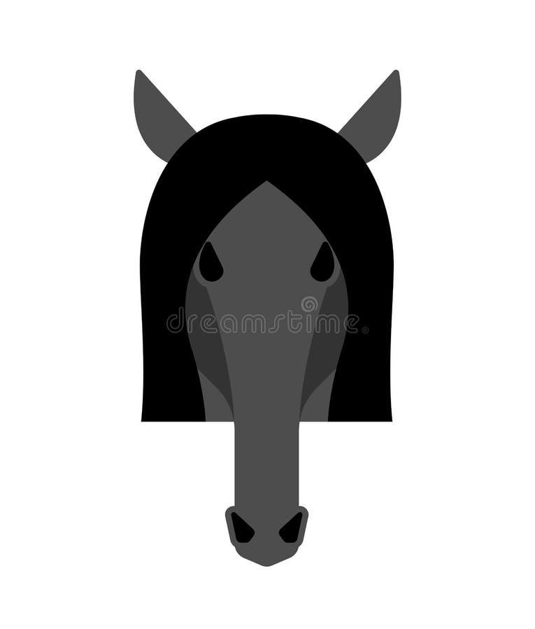 Изолированная голова лошади черная Equine иллюстрация вектора стороны иллюстрация штока