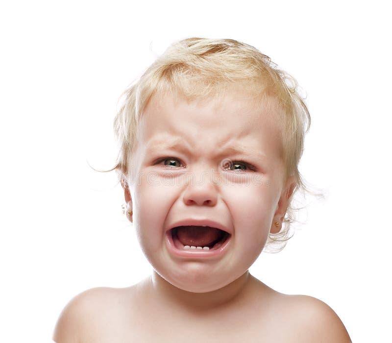 изолированная девушка младенца плача стоковые изображения rf
