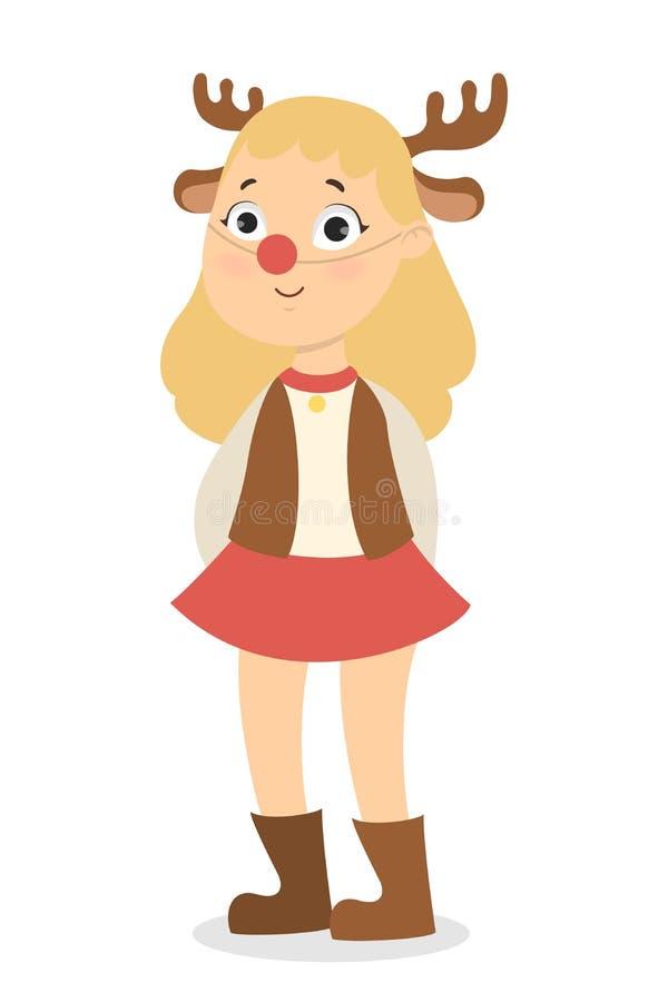 Изолированная девушка оленей иллюстрация вектора