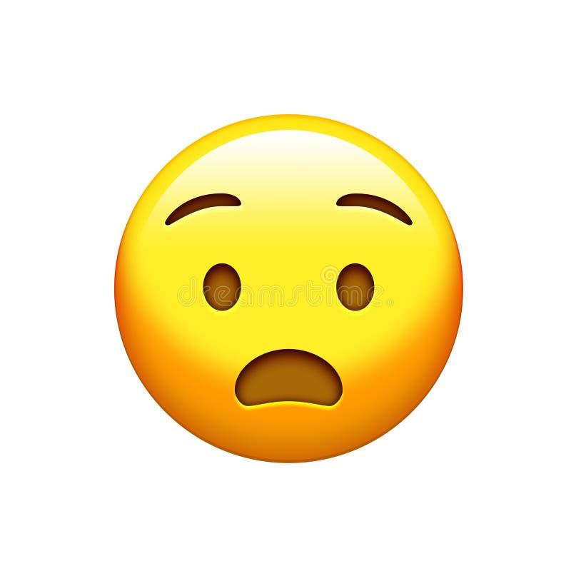 Изолированная желтая сторона сюрприза с раскрытым значком рта иллюстрация вектора