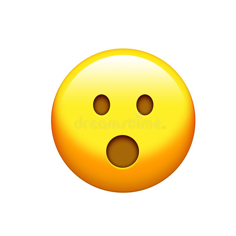 Изолированная желтая сторона сюрприза с раскрытым значком рта бесплатная иллюстрация