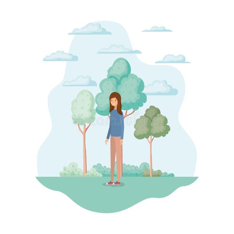 Изолированная женщина в дизайне парка иллюстрация вектора