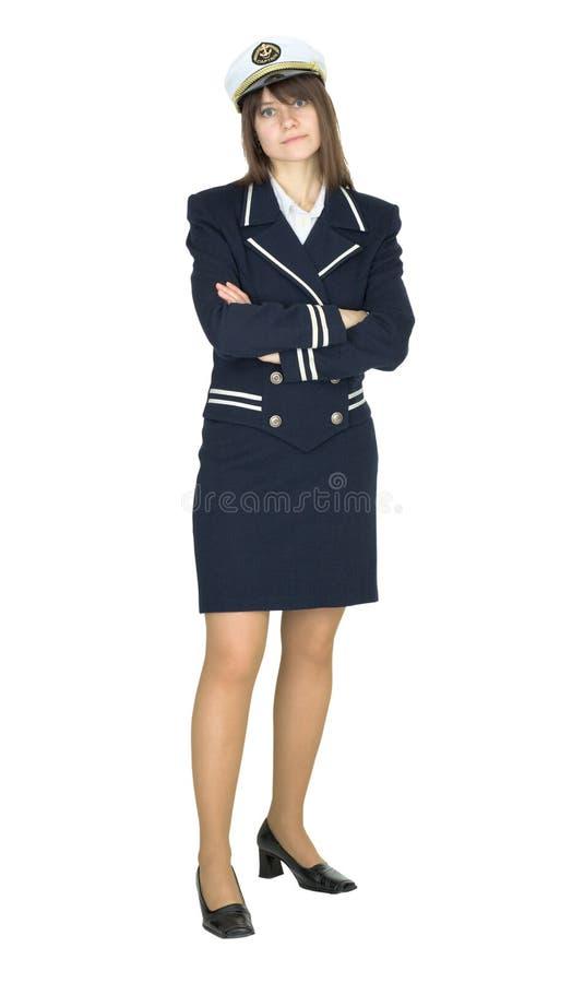 изолированная женщина костюма матроса нетоварищеская белая стоковые фотографии rf