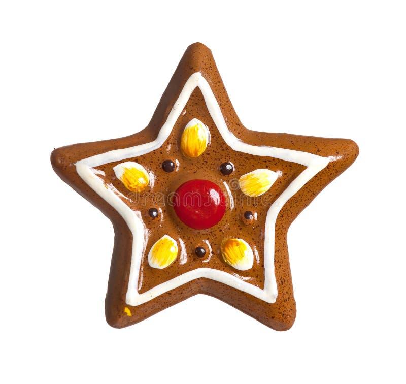 Изолированная звезда рождества Gingerbread стоковое изображение