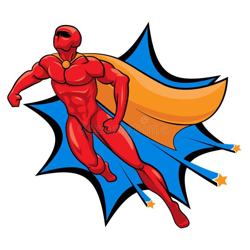 Изолированная иллюстрация вектора летания супергероя Герой шаржа иллюстрация вектора