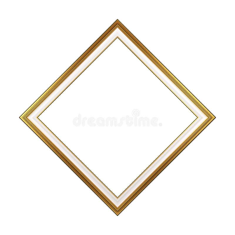Изолированная картинная рамка золотого косоугольника пустая иллюстрация вектора