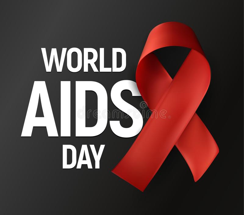 Изолированная красная лента с белым Международным днем СПИДА текста на серой предпосылке, логотипе вектора осведомленности ВИЧ, b иллюстрация вектора