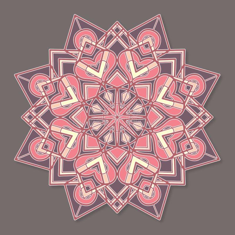 Изолированная красочная lineless мандала вектора в пастельных цветах иллюстрация штока