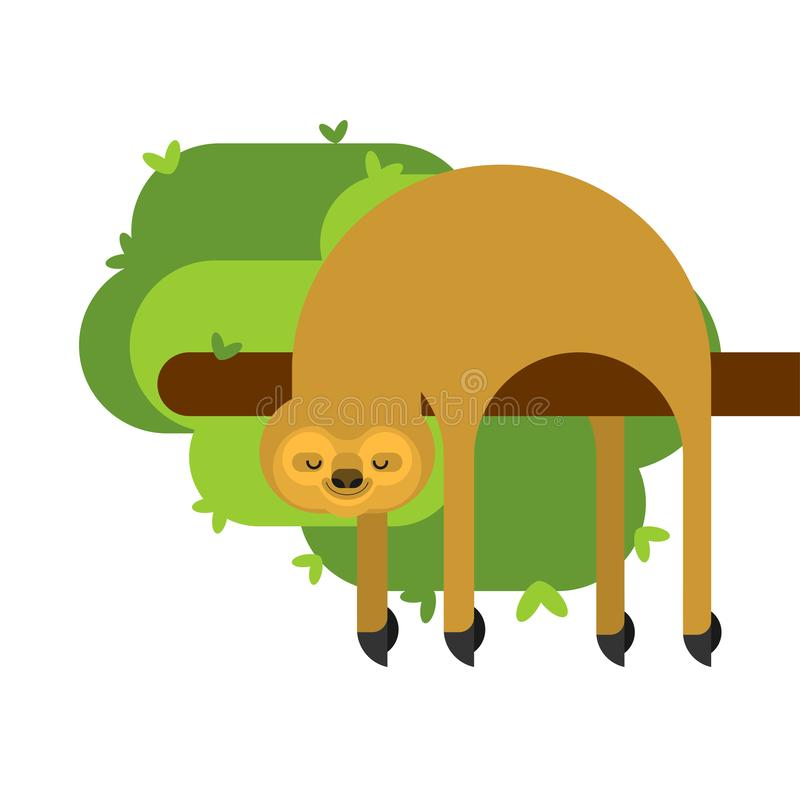 Изолированная лень мультфильм lazybones животный также вектор иллюстрации притяжки corel иллюстрация штока