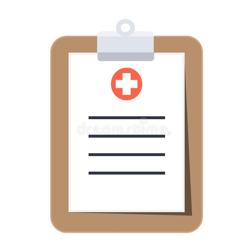 Изолированная медицинская доска сзажимом для бумаги со знаком тени и больницы стоковое изображение