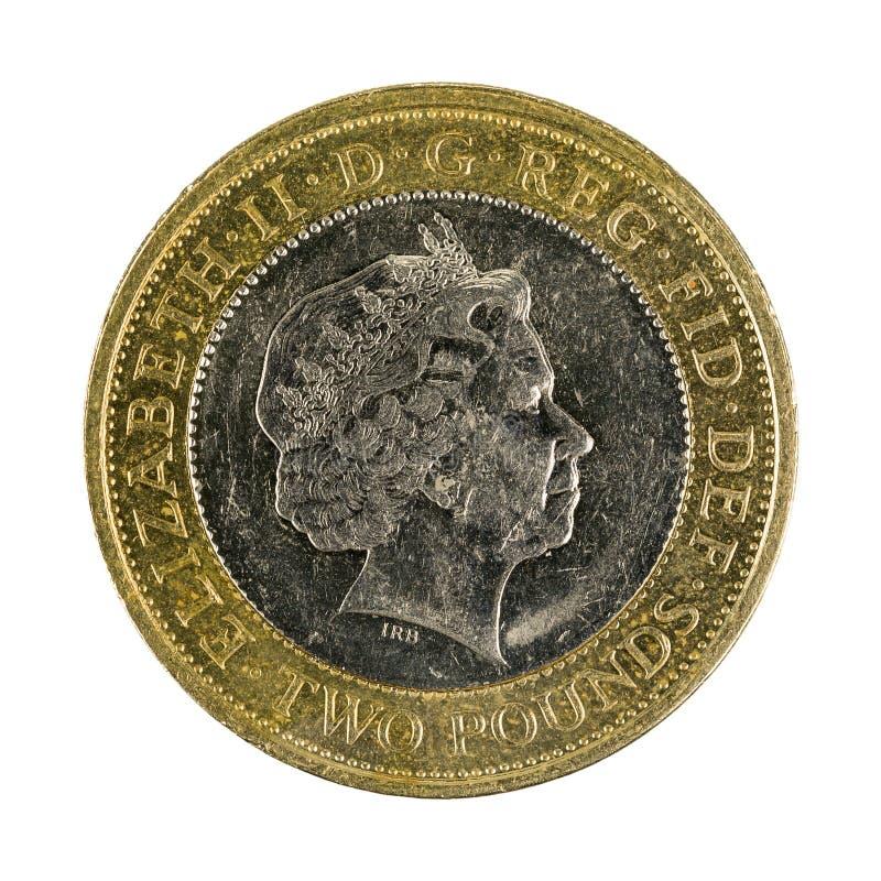 Изолированная монетка английского фунта 2 2007 стоковая фотография rf