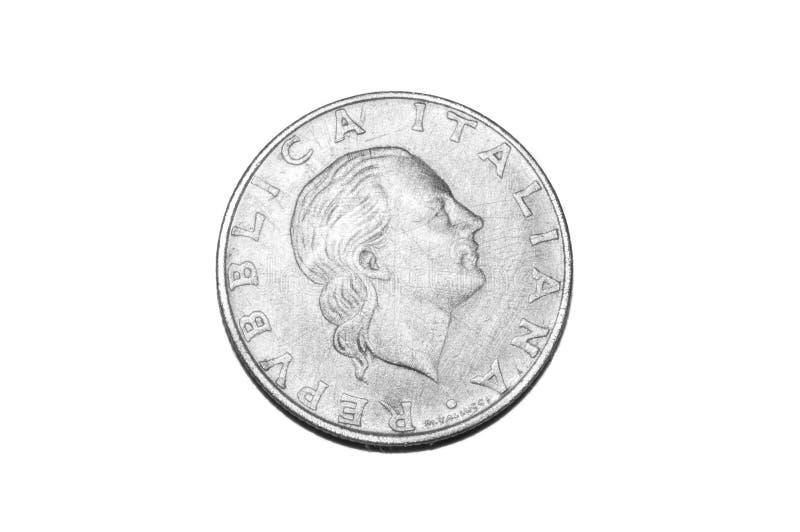 изолированная монетка итальянской лиры 200 стоковое изображение rf