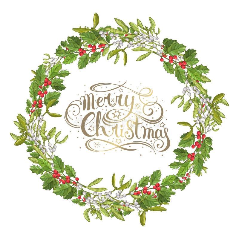 Изолированная омела Традиционный завод рождества Ягода праздника красная с зелеными листьями Украшать для национальное празднично иллюстрация вектора