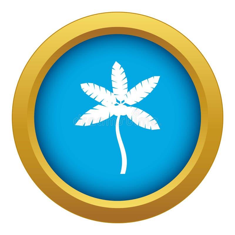 Изолированная пальма с вектором значка кокосов голубым иллюстрация штока