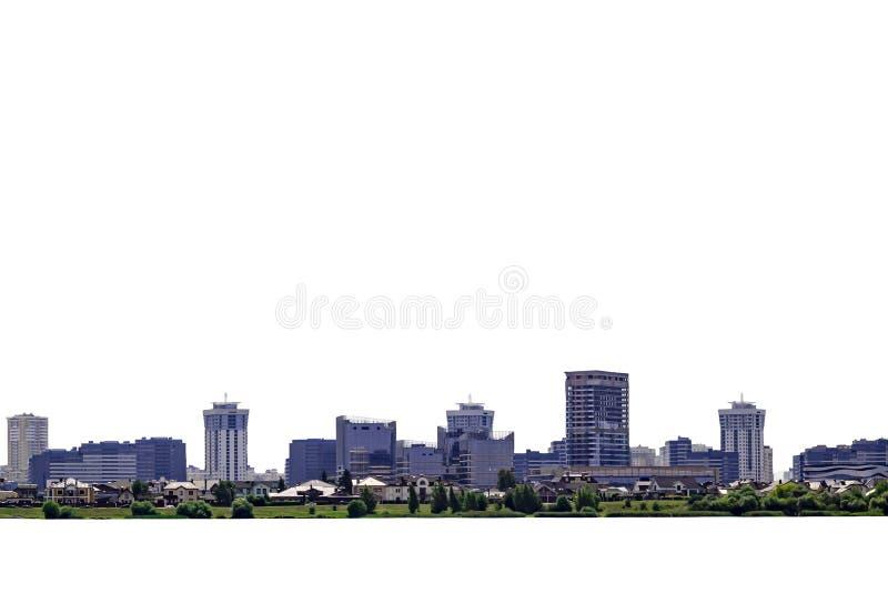 изолированная панорама современного города с голубыми зданиями стоковая фотография rf