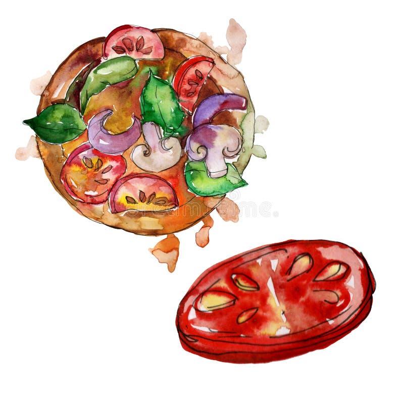 Изолированная пицца фаст-фуда itallian в стиле акварели Предпосылка иллюстрации еды Aquarelle Изолированный элемент пиццы иллюстрация вектора