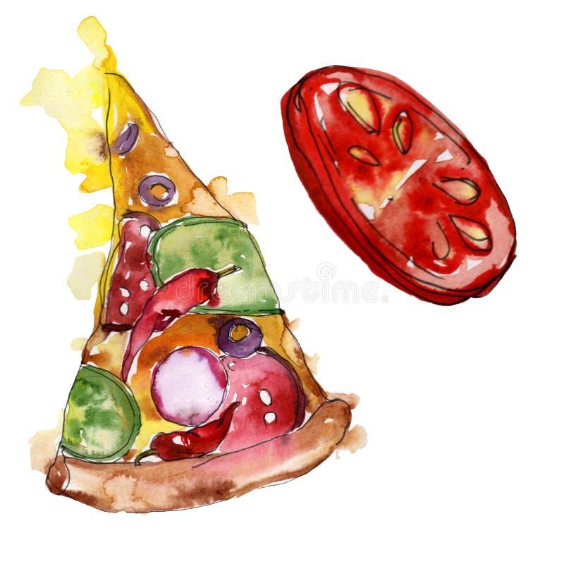 Изолированная пицца фаст-фуда itallian в стиле акварели Предпосылка иллюстрации еды Aquarelle Изолированный элемент пиццы иллюстрация штока