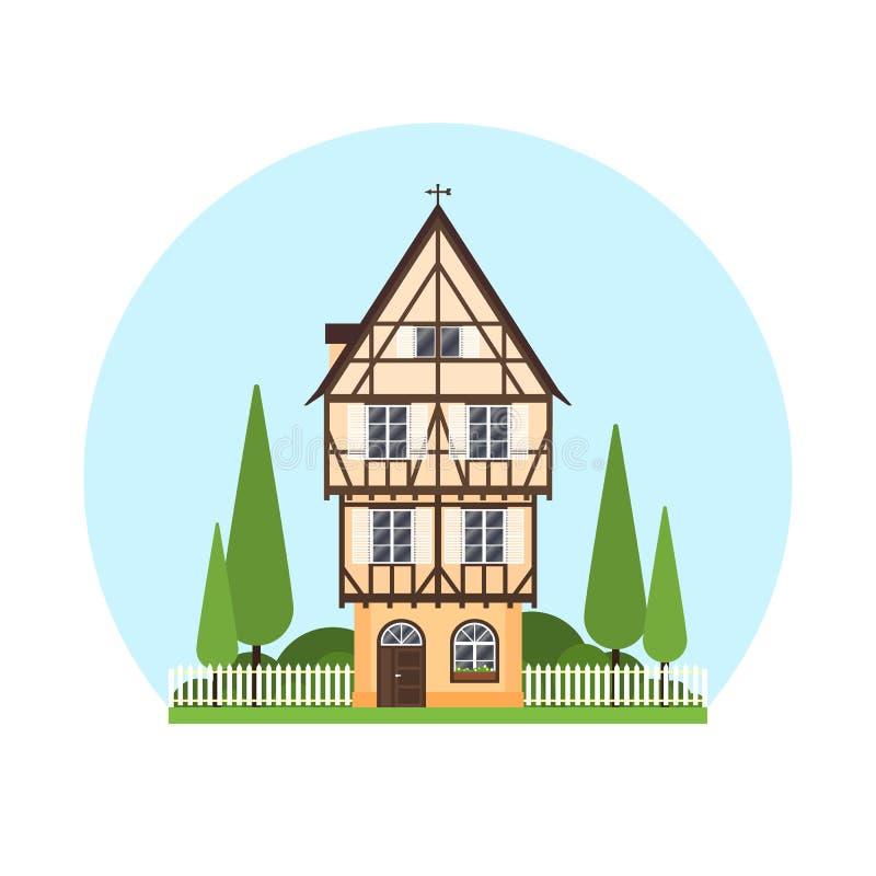 Изолированная покрашенная половина timbered здание на белой предпосылке Плоский фасад европейского обрамляя дома, коттеджа Красоч иллюстрация штока