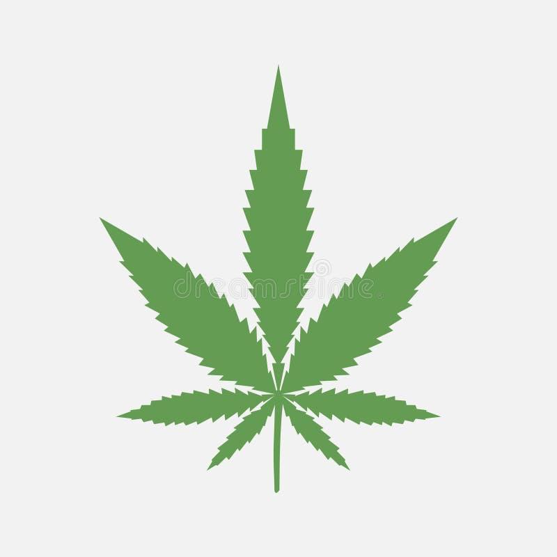 изолированная предпосылкой белизна марихуаны листьев Медицинская конопля Зеленый lant значок также вектор иллюстрации притяжки co иллюстрация штока
