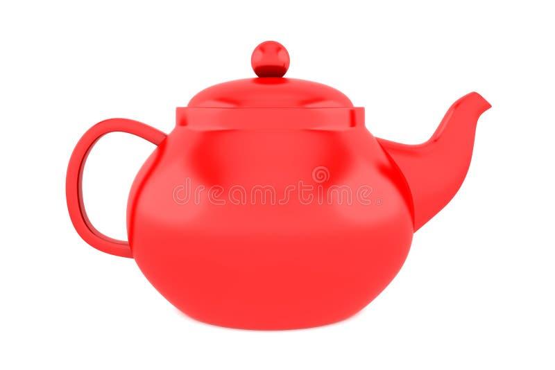 изолированная предпосылкой красная белизна чайника стоковая фотография