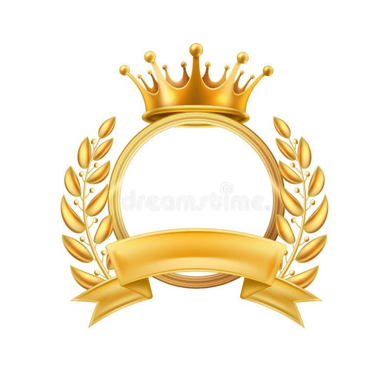 Изолированная рамка победителя лаврового венка кроны золота иллюстрация вектора