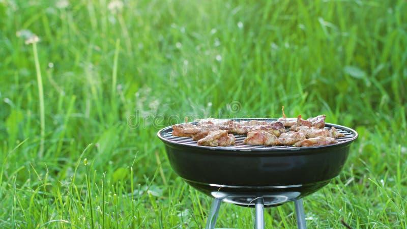 изолированная решетка барбекю Стейки цыпленка приготовления на гриле стоковые изображения