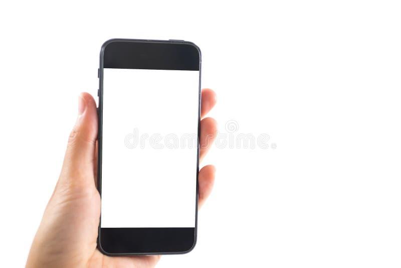 Изолированная рука предпосылки кавказского wh мобильного телефона владением женщины стоковое изображение rf