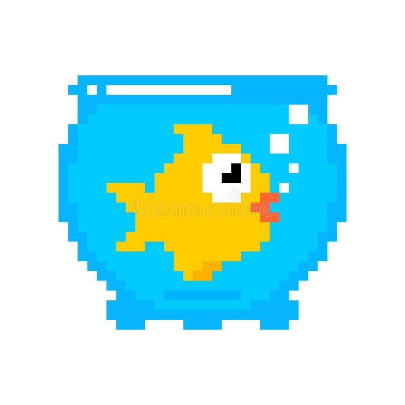 Изолированная рыбка в искусстве пиксела аквариума Вектор морского животного рыб 8bit золота бит характера 8 океана бесплатная иллюстрация