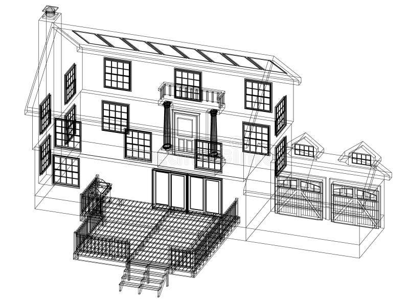 Изолированная светокопия архитектора дизайна дома - бесплатная иллюстрация