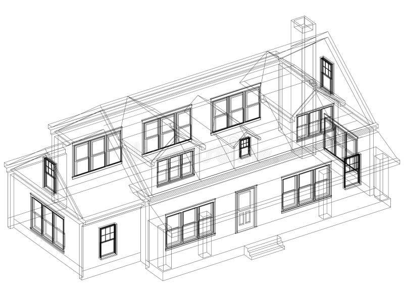 Изолированная светокопия архитектора дизайна дома - иллюстрация вектора