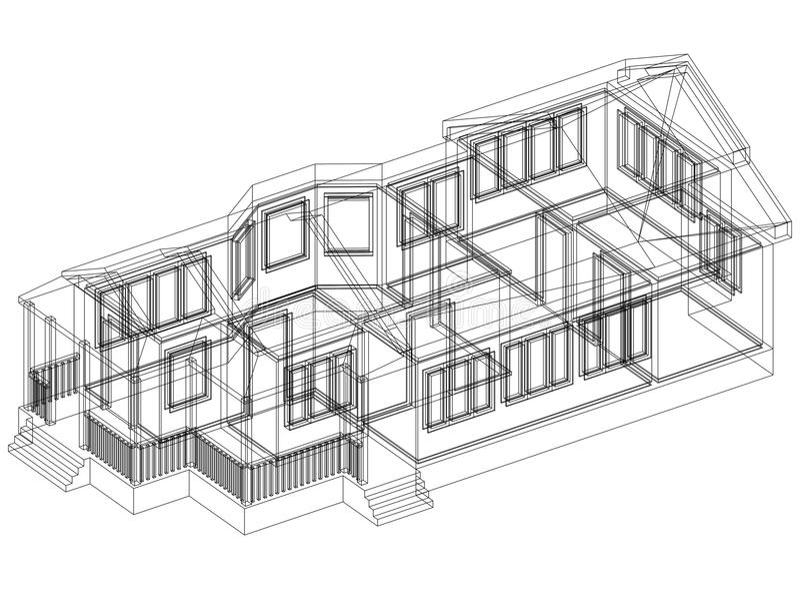 Изолированная светокопия архитектора дизайна дома - иллюстрация штока