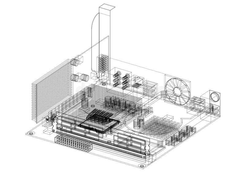 Изолированная светокопия архитектора дизайна материнской платы компьютера - бесплатная иллюстрация