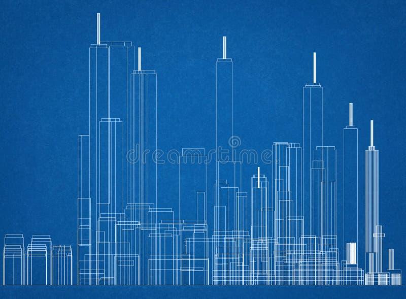 Изолированная светокопия архитектора концепции городка - стоковые фотографии rf
