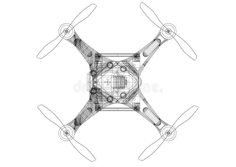 Изолированная светокопия архитектора концепции трутня - иллюстрация штока