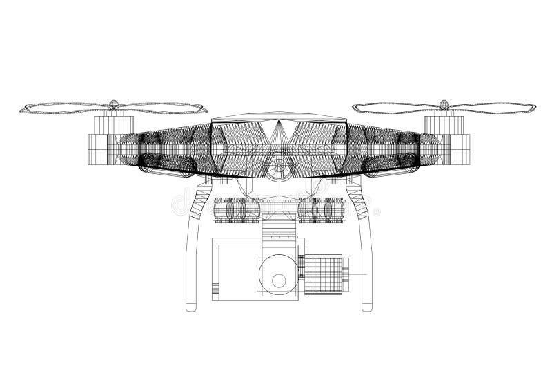 Изолированная светокопия архитектора концепции трутня - иллюстрация вектора