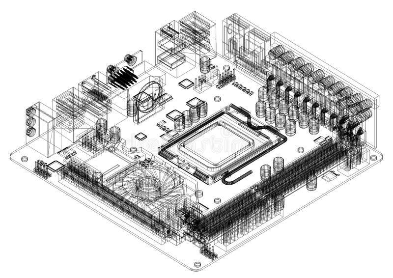 Изолированная светокопия архитектора материнской платы компьютера - бесплатная иллюстрация