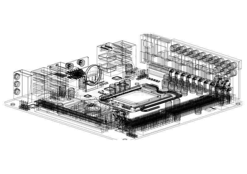 Изолированная светокопия архитектора материнской платы компьютера - иллюстрация штока