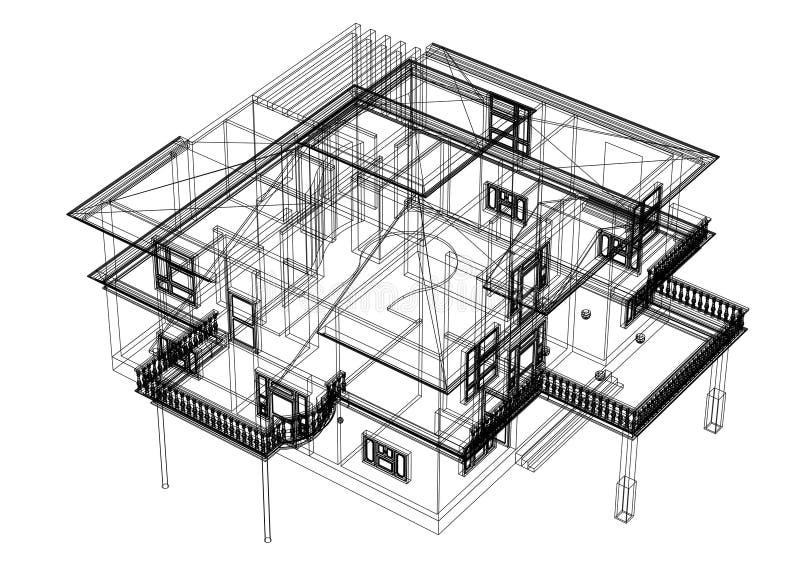 Изолированная светокопия дизайна архитектора дома - иллюстрация вектора