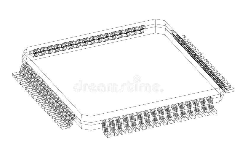 Изолированная светокопия компьютерной микросхемы 3D - бесплатная иллюстрация