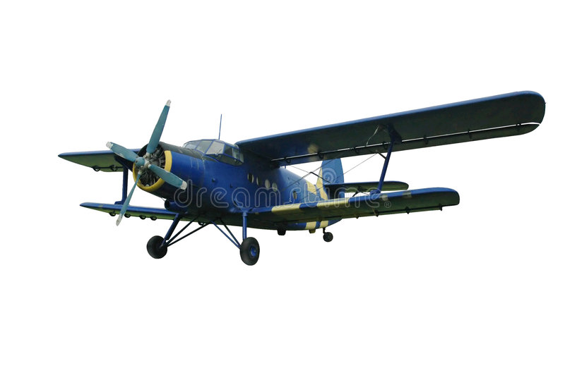 изолированная синь самолет-биплана иллюстрация вектора