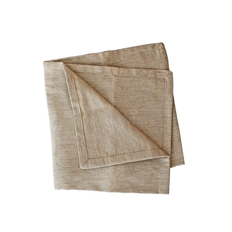 Изолированная сложенная квадратная Linen салфетка стоковое изображение rf
