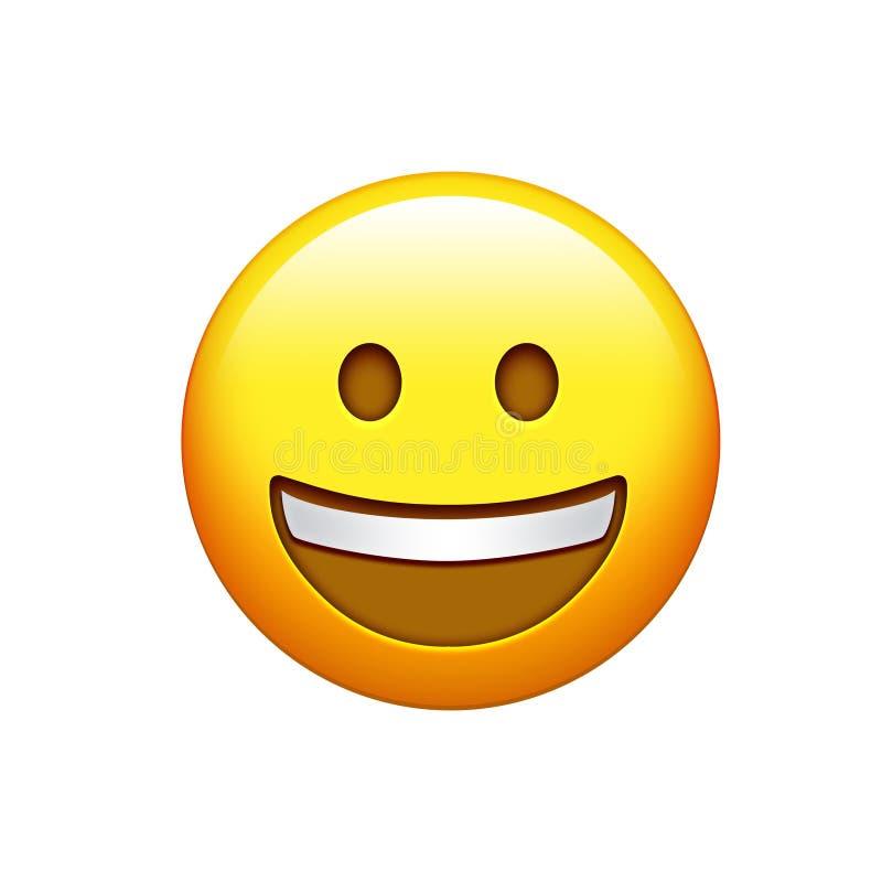 Изолированная сторона желтого цвета усмехаясь с верхним белым значком зубов иллюстрация штока