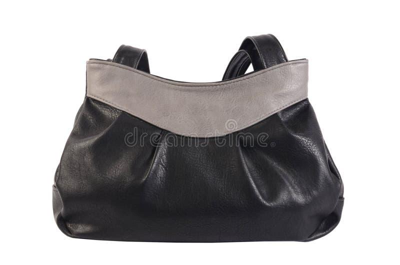 Изолированная сумка ` s женщин черная кожаная стоковое фото
