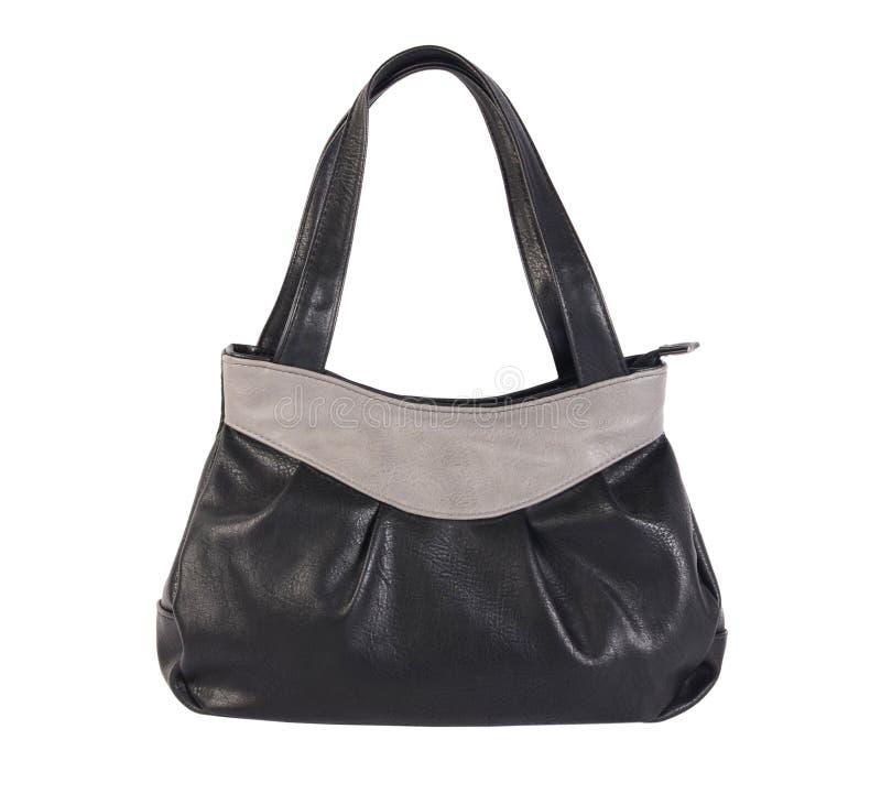 Изолированная сумка ` s женщин черная кожаная стоковое фото rf