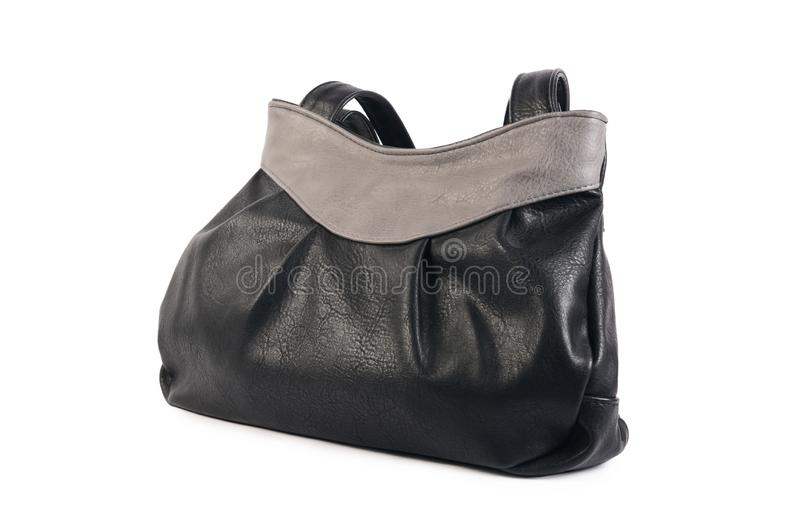 Изолированная сумка ` s женщин черная кожаная стоковая фотография rf