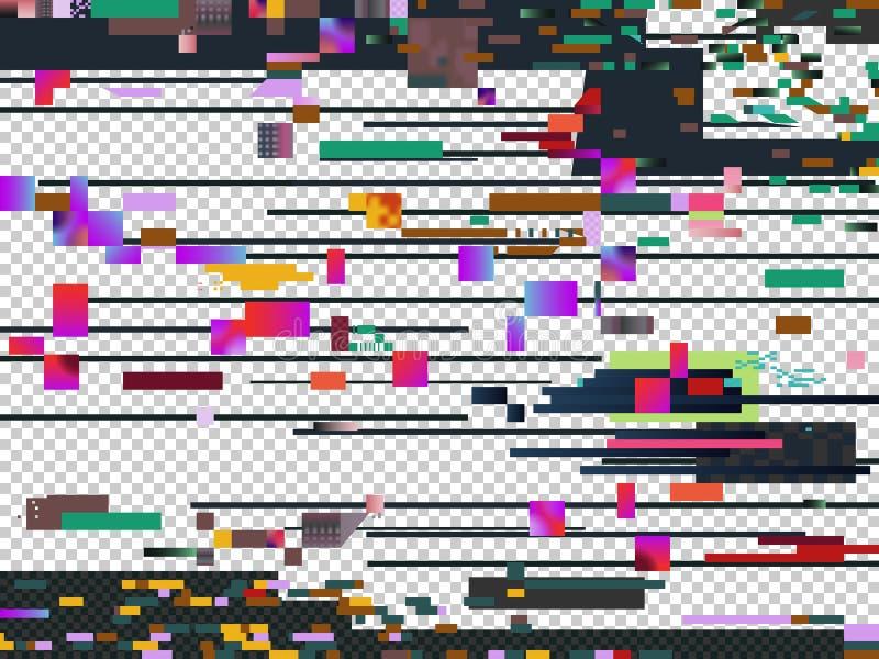 Изолированная текстура шума небольшого затруднения вектора Экран компьютера Glitched Спад сигнала телевидения иллюстрация штока