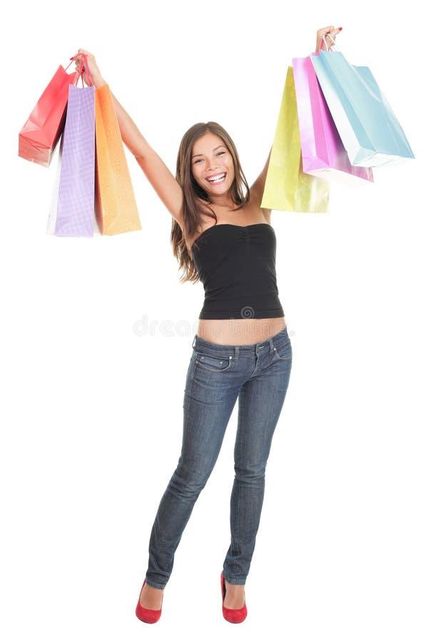 изолированная ходя по магазинам женщина стоковое фото rf