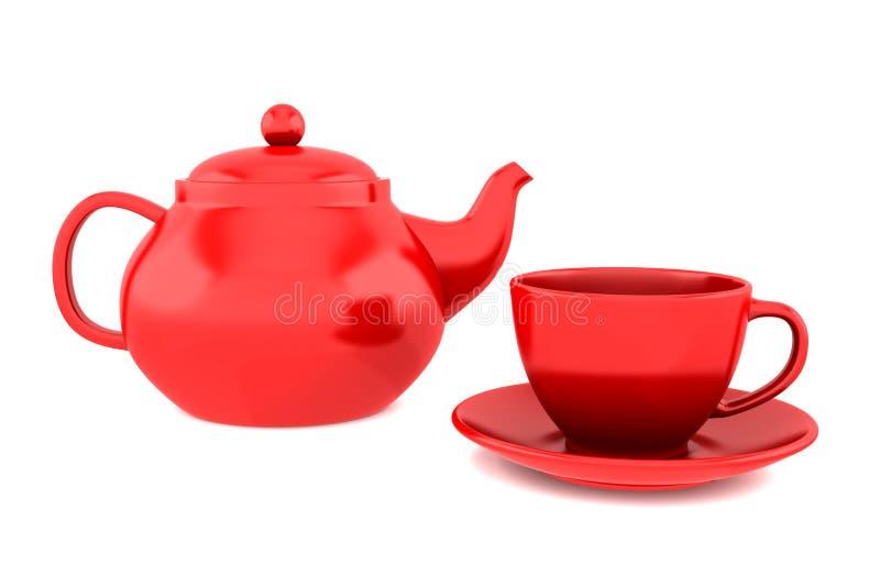 изолированная чашкой красная белизна чайника стоковые фотографии rf