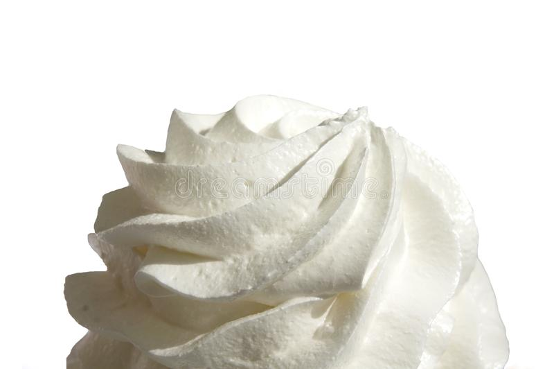 Изолированная cream белая, взбитая сливк изолированная на белой предпосылке стоковое фото