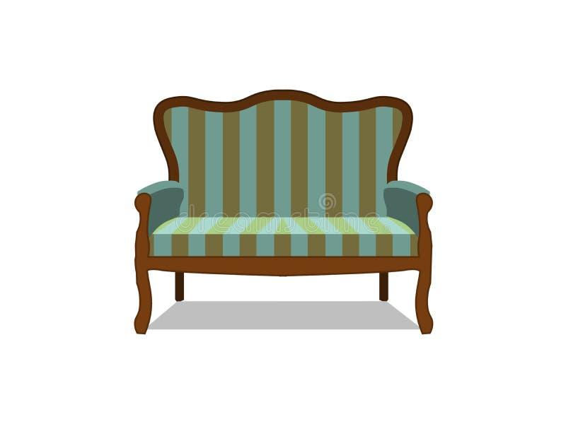 Изолированное вид спереди значка софы вектора классическое Цвет роскошной квартиры стиля дизайна мебели плоско ретро античной кла иллюстрация штока